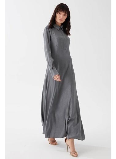 Vivencia Gömlek Yaka Kadın Elbise Vizon Gri